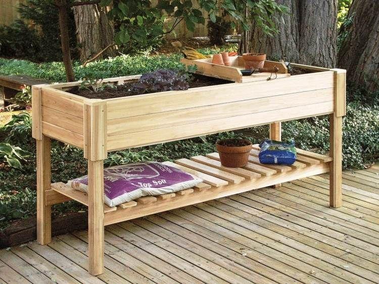 Carr potager sur lev et bac fleurs sur pied fiche pratique tables de poterie potager - Bac en bois pour potager ...