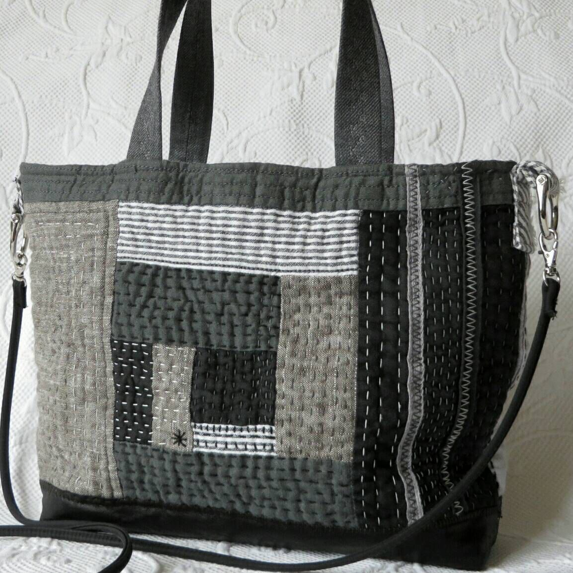 Black Hand Quilted Purse Sashiko Log Cabin Quilt Linen Leather Handbag By Hobbshillquilts On Etsy