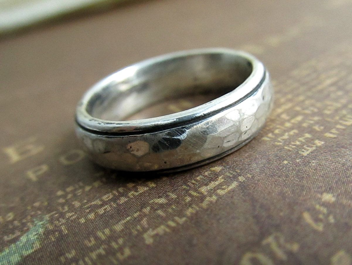 Rustic Men S Band Silver Wedding Ring Hammered Comfort Fit Domed Sterling Metalwork Brushed Oxidized 5mm Pinterest