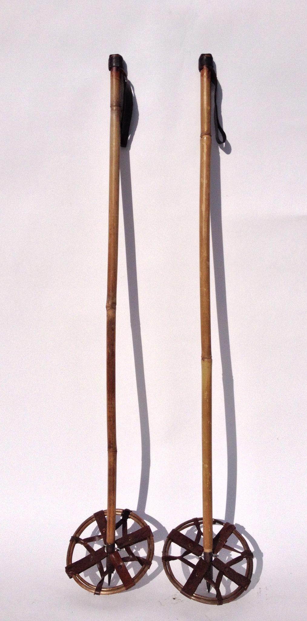 Bamboo Ski Poles Leather Grips Vintage Skis Leather Skiing