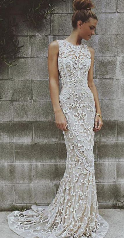 Embroidered Sleeveless Fit-and-Flare Wedding Dress | wedding | Pinterest