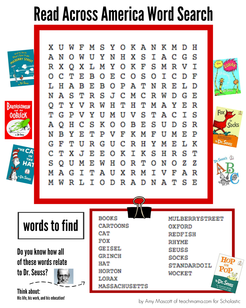 read across america word search word search searching and