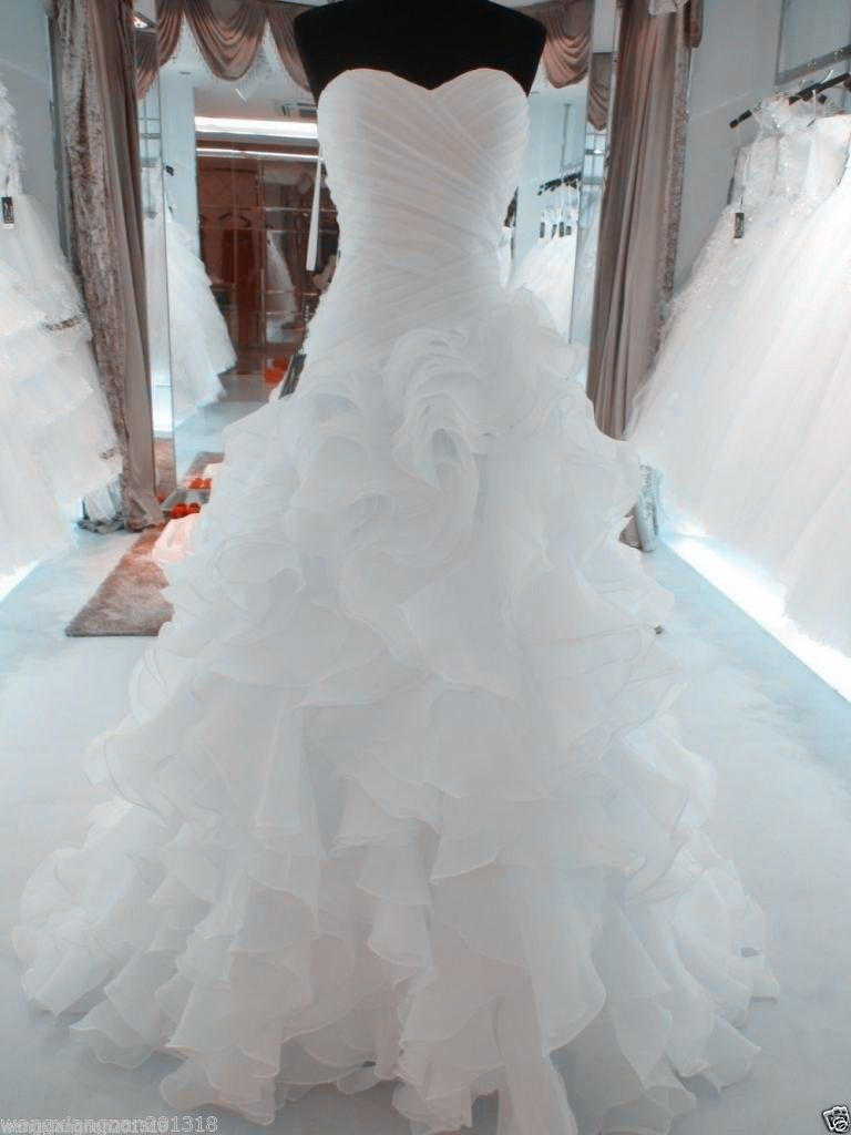 Wedding dress dream meaning  New White Organza Wedding Dress Bridal Gown stock size