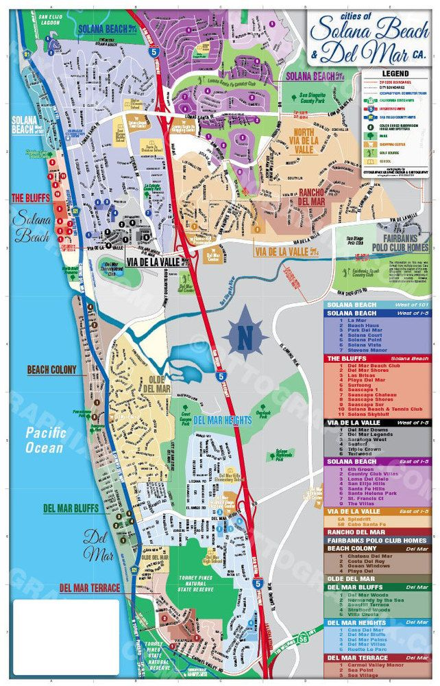 Del Mar And Solana Beach Map With Subdivisions San Diego