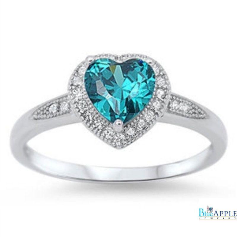 Solid 925 Sterling Silver Halo Heart Shape Swiss Blue