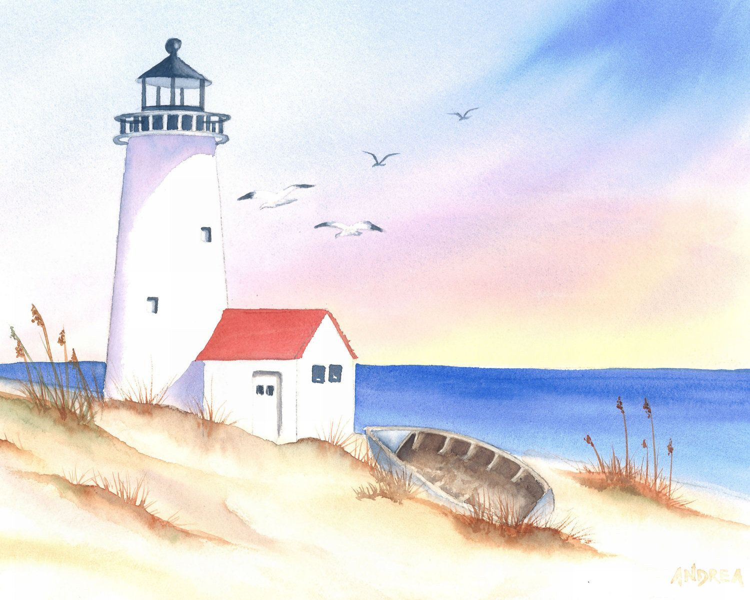 Lighthouse Lighthouse Painting Seascape Paintings Watercolor