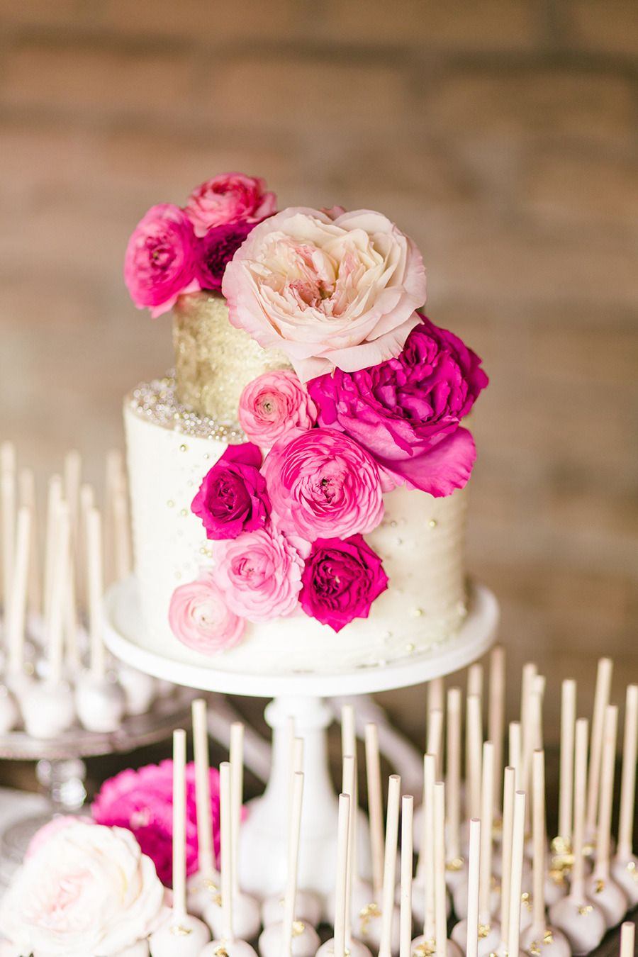 California Garden Wedding Layered with Pink | White cakes, Cake and ...