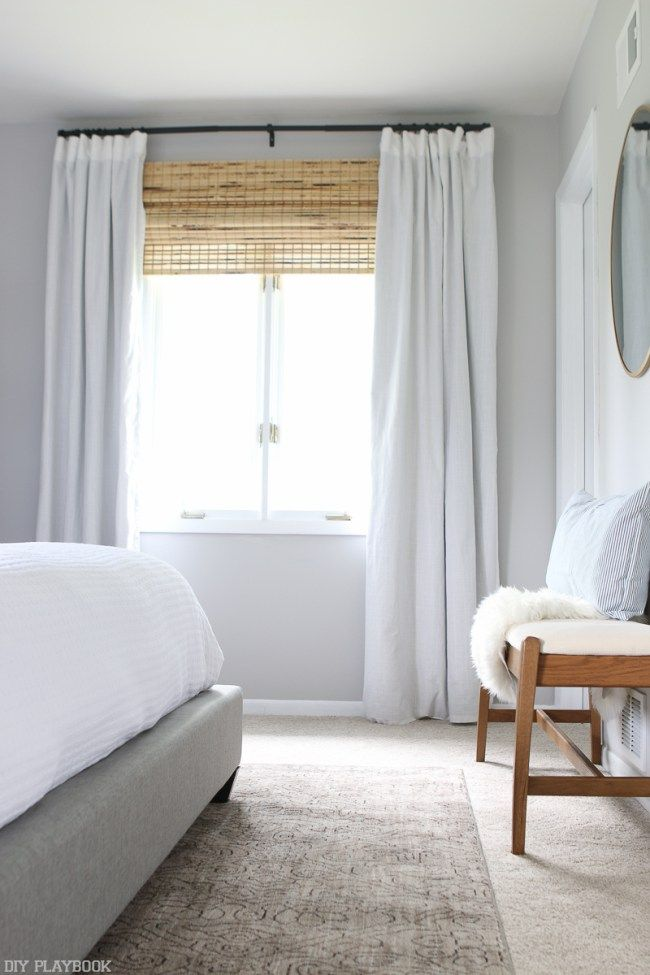 neutral bedroom reveal with lowe 39 s home improvement black curtain rods black curtains and. Black Bedroom Furniture Sets. Home Design Ideas