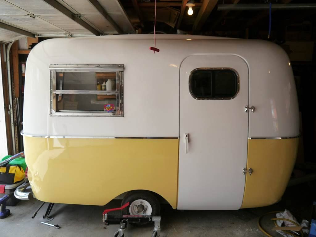 Posted in retro vintage tagged classic cars teardrop caravan vintage - Yellow Buttercup Boler On Small Wheels Vintage Camper Tiny Trailer Caravan O