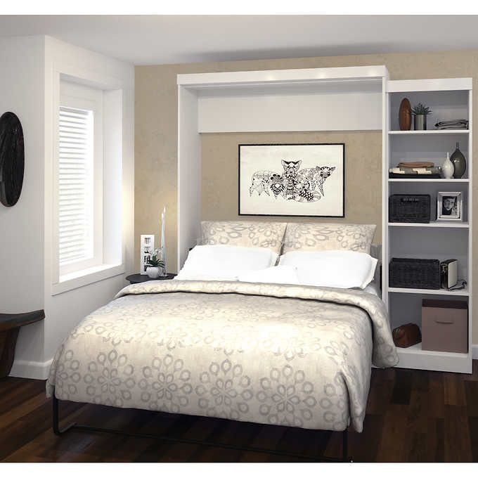 Boutique Queen Wall Bed With One 25 Open Storage Unit In White With Images Murphy Bed Ikea Queen Murphy Bed Wall Bed