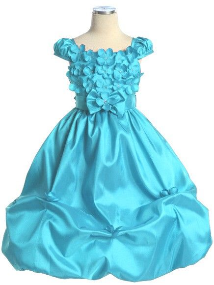 Turquoise Flower Girl Dresses | Turquoise Taffeta Bubble Flower Girl Dress