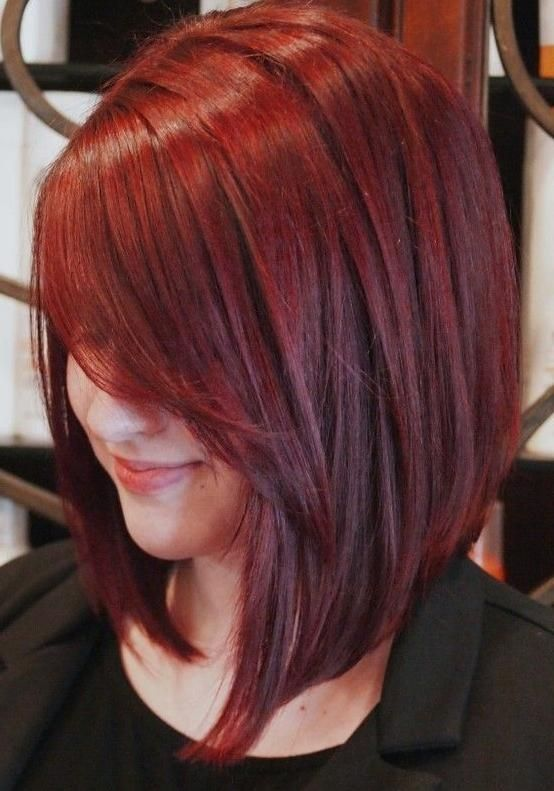 Image result for long angled bob with side swept bangs red