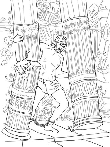 Samson Pushing Down Pillars Coloring Page Free Printable Coloring Pages Sunday School Coloring Pages Bible Coloring Pages Bible Coloring