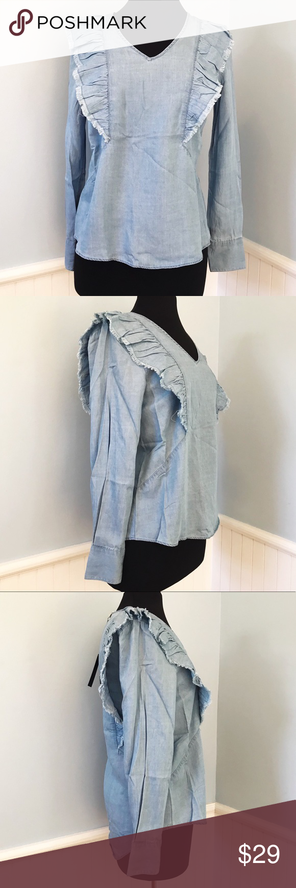 df2db68d618 NWT Jane and Delancey Ruffle Chambray Blouse XS NWT Jane and Delancey  Ruffle Chambray Blouse XS - Features  front and back ruffle