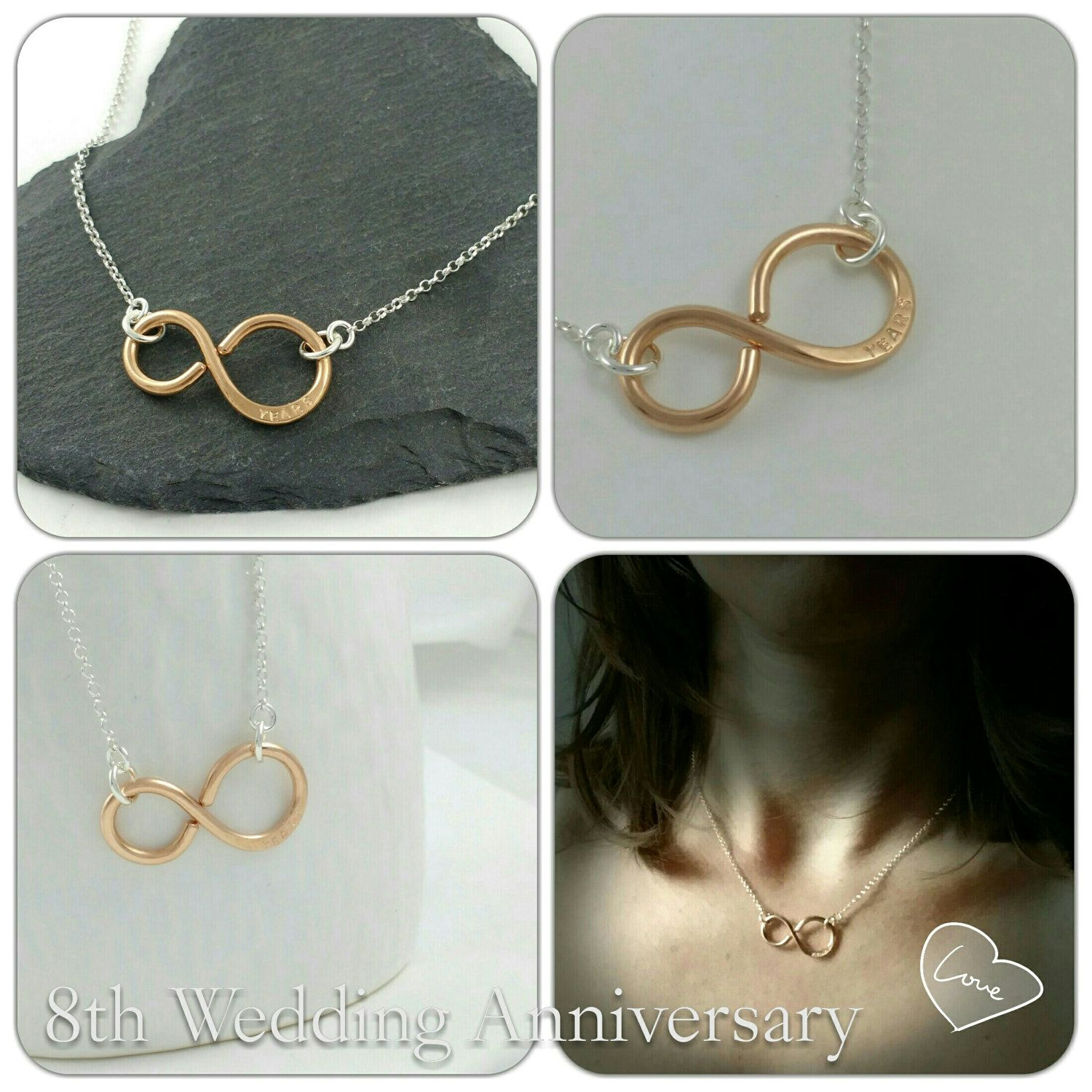 Bronze Necklace Infinity 8th Anniversary 19th 22nd Gifts Gift For Her