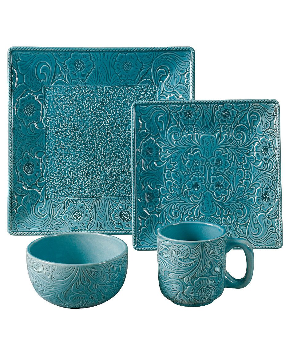 Hiend Accents Savannah Turquoise Dinnerware Set Home