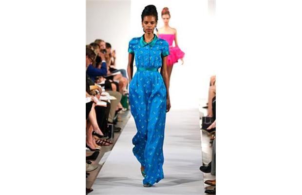 It's all about the blue pantsuit at Oscar de la Renta -- #NYFW 2013.