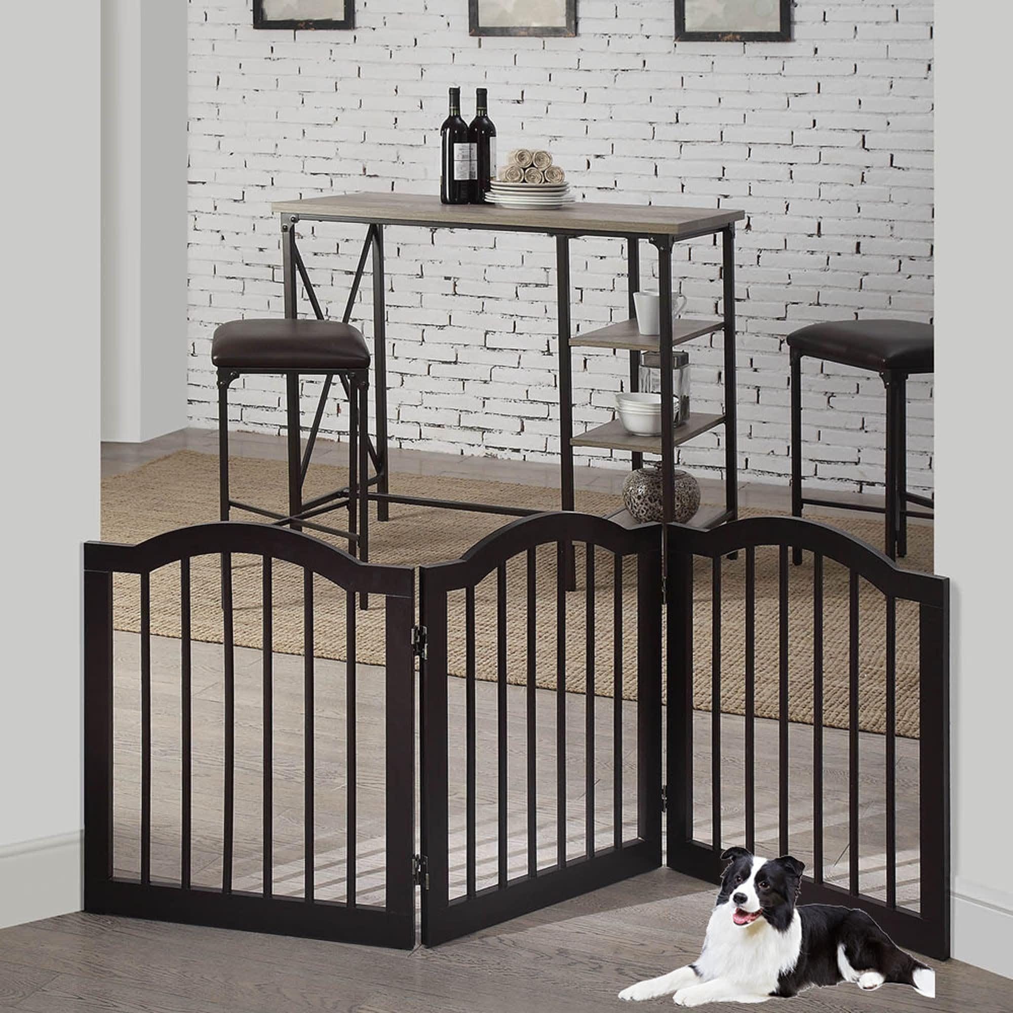 Unipaws Arched Top 3 Panel Dog Gate Espresso Freestanding 20 60 W X 24 H In 2020 Pet Gate Freestanding Dog Gate Small Doors