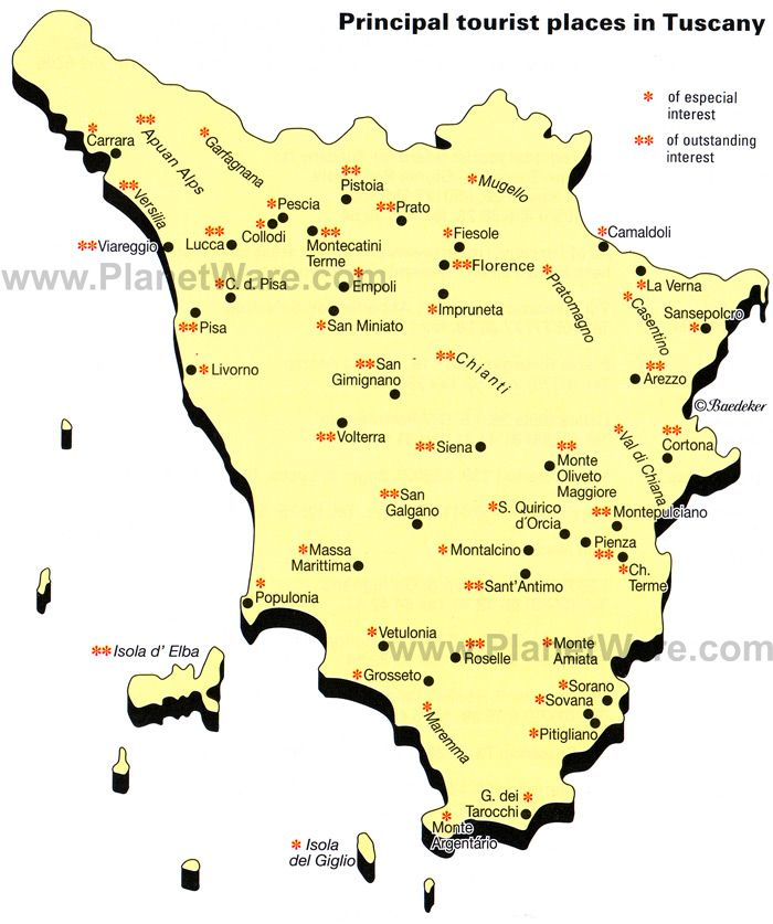 Map Of Principal Tourist Places In Tuscany