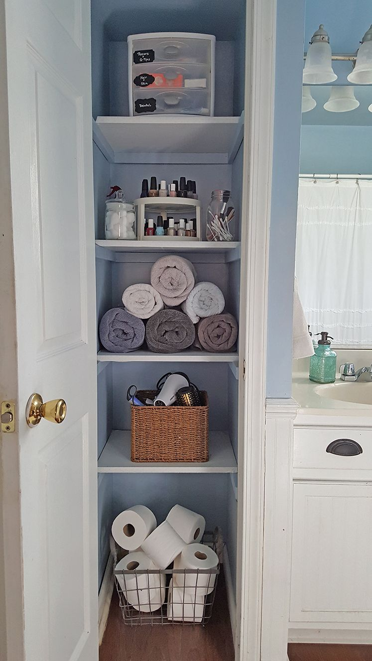 Bathroom Closet Shelving Ideas organized linen closet - | linens, storage and spaces
