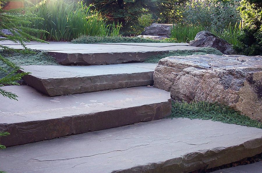 Large Flagstone Natural Stone Steps In A Beautiful Landscape Installation