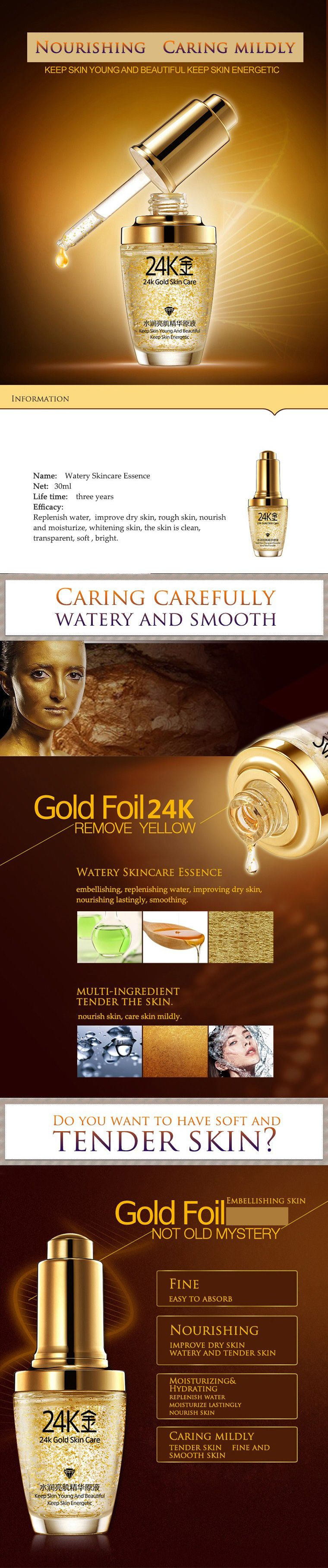 Aliexpresscom Buy Bioaqua 24k Gold Face Cream Whitening Serum Essence Moisturizing 24 K Day