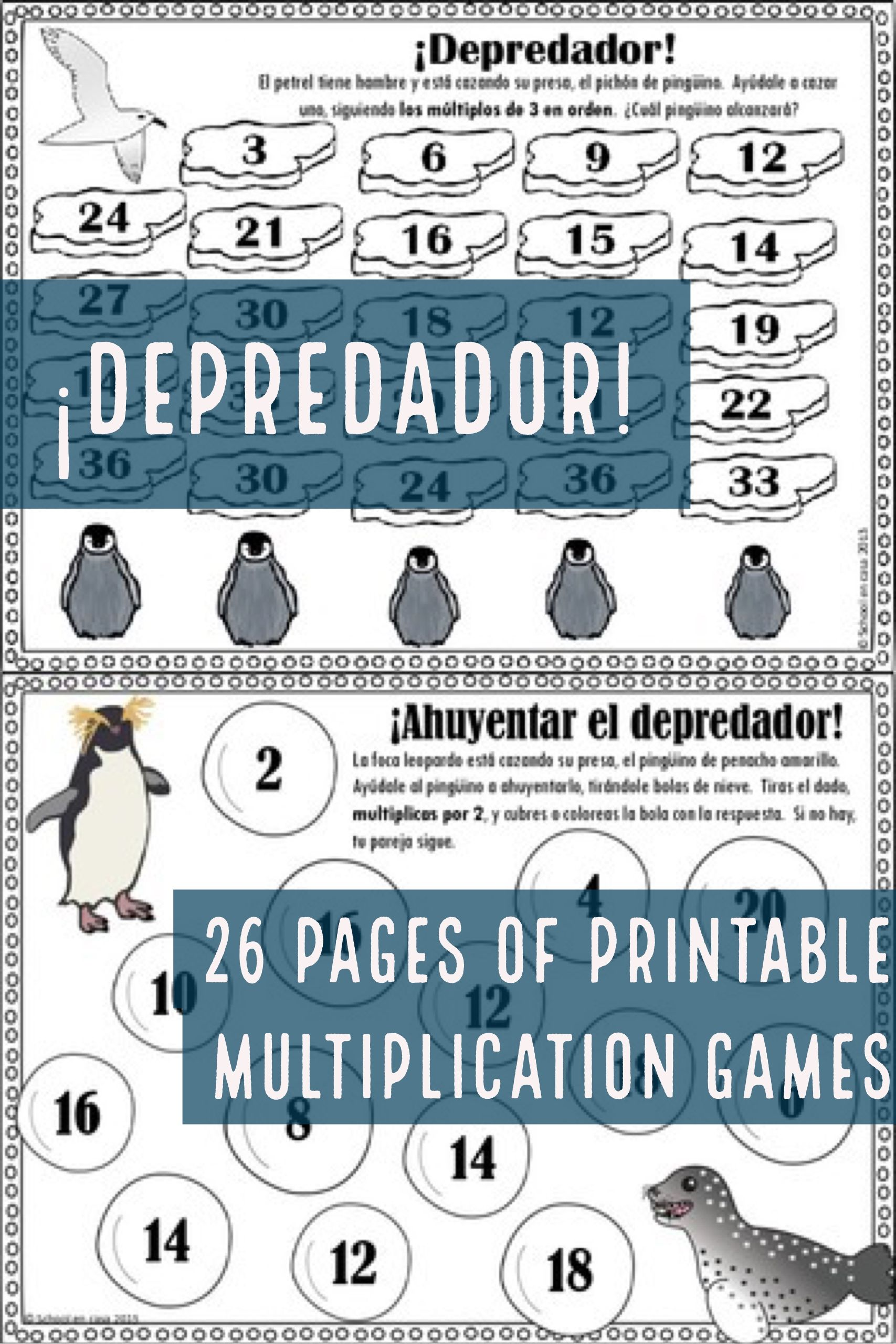 Printable Multiplication Games in Spanish: ¡Depredador! Antártica ...