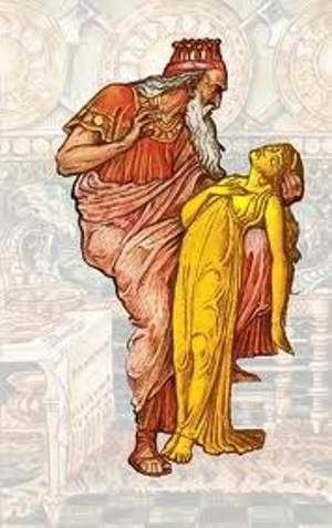 When Midas hugged his daughter, she turned into a golden statue - best of coloring pages of king midas