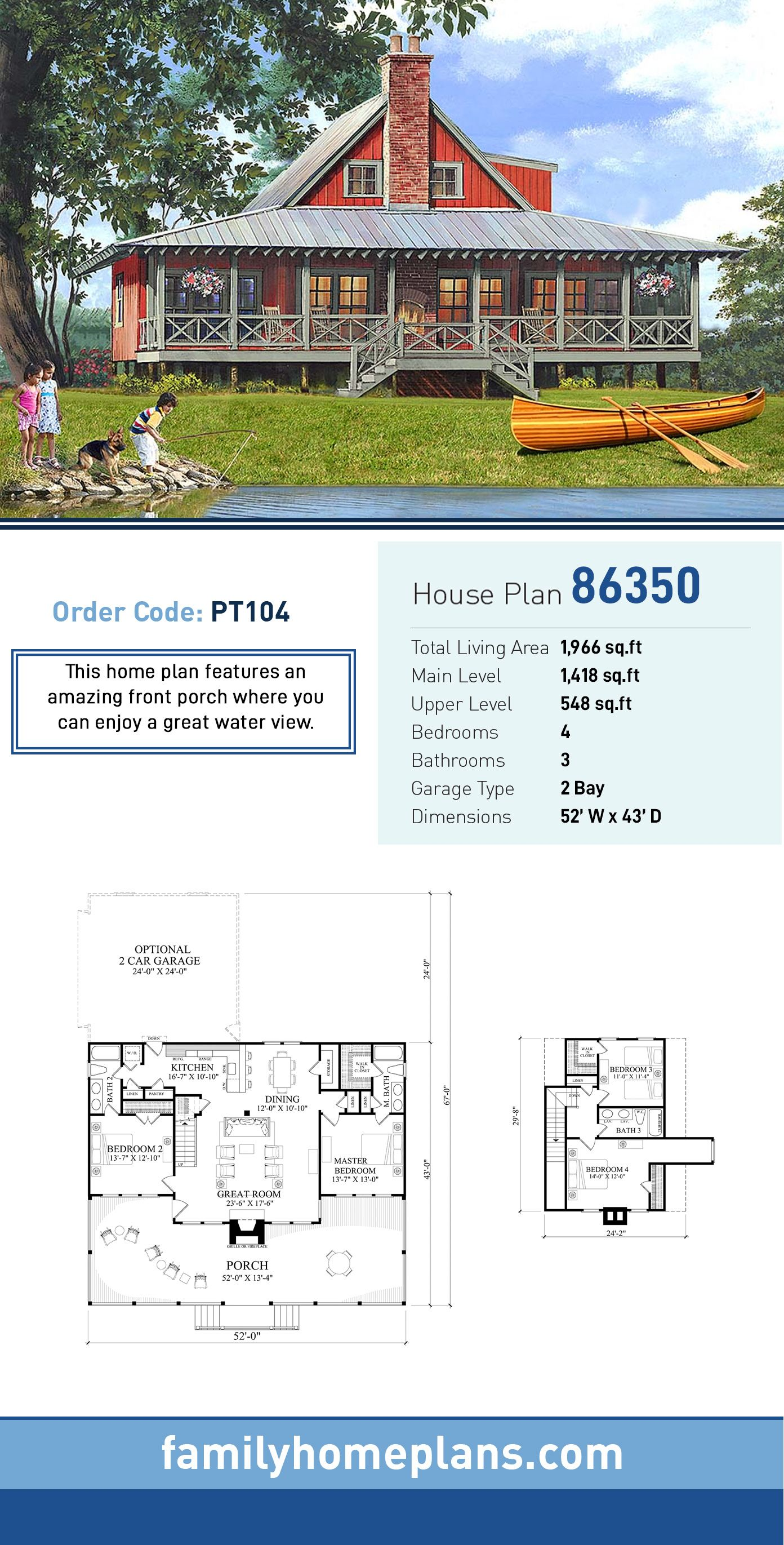 Traditional Style House Plan 86350 With 4 Bed 3 Bath 2 Car Garage Coastal House Plans House Plans Farmhouse Lake House Plans