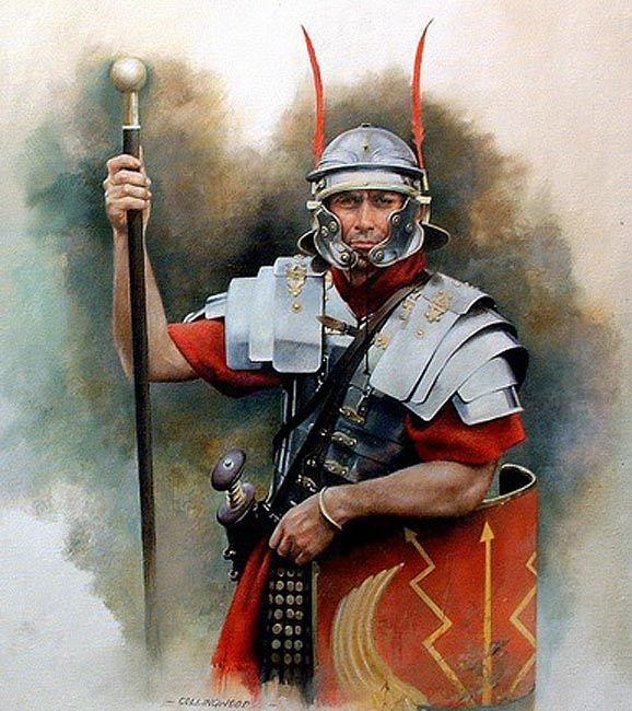 Roman Optio holding a Staff 1st Century CE - http://www.inblogg.com/roman-optio-holding-a-staff-1st-century-ce/