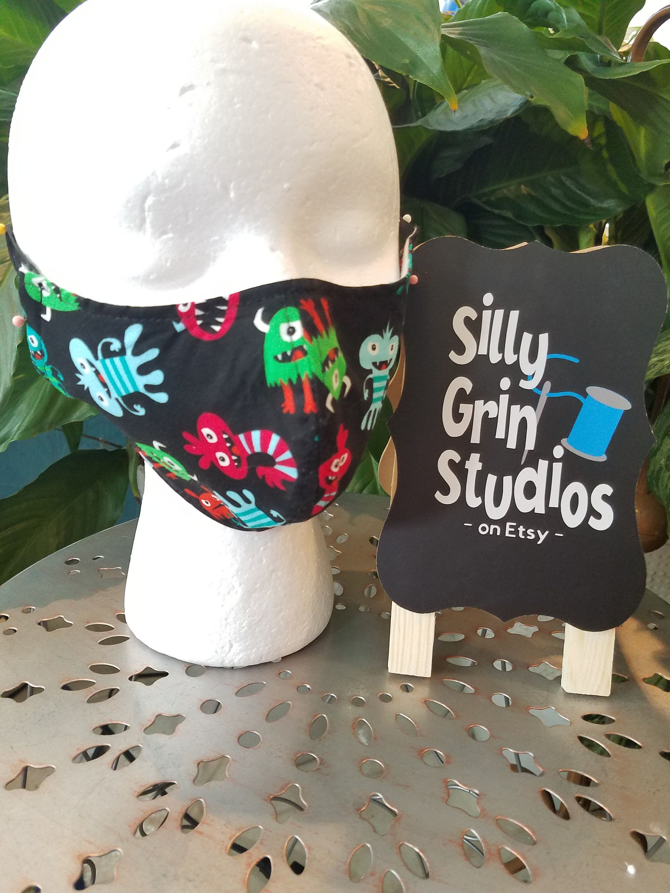 100% Cotton Face Mask SILLY GERMS BLACK: Germ Mask, Groomer Mask ...