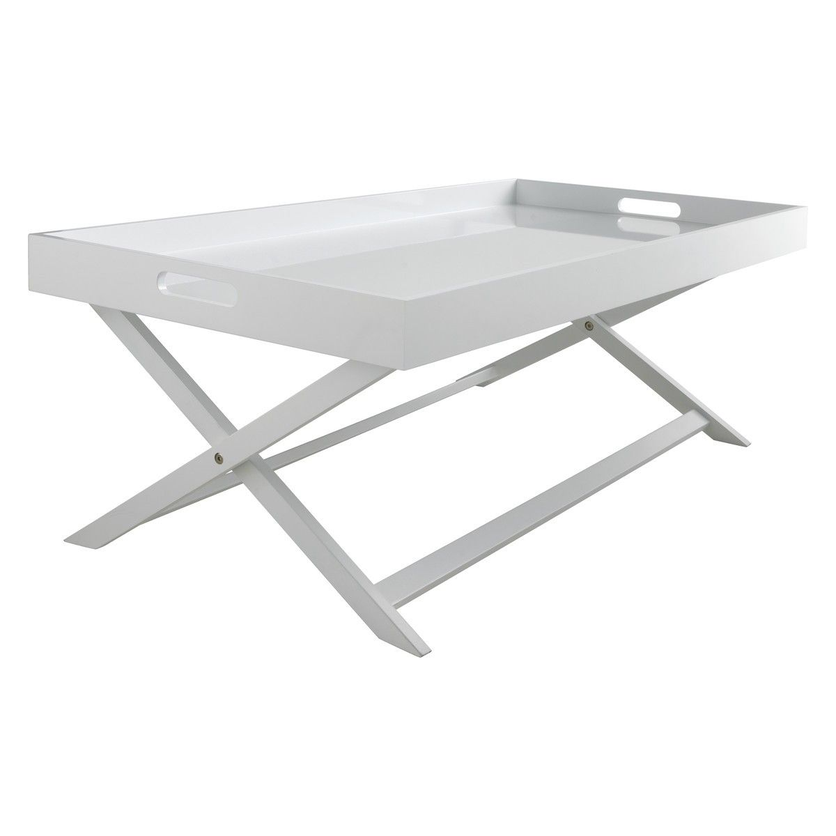 - OKEN White Folding Coffee Table With Removable Tray Top Coffee