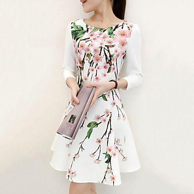 Naisten ympäristöystävällinen vuosikerta kukka tulostaa ¾-hihat edellä polven mekko 2015 – hintaan €11.39