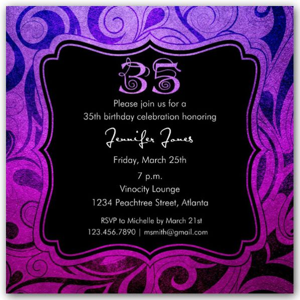Brilliant Emblem 35th Birthday Party Invitations