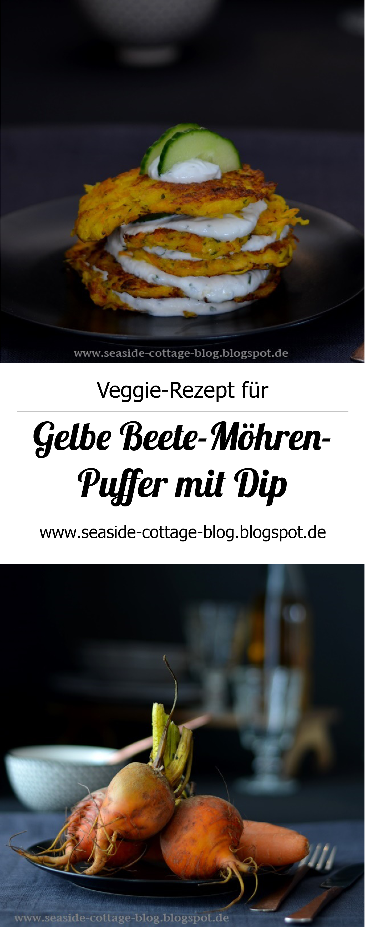 Rezept für vegetarische Bratlinge mit gelber Beete und Möhren und ein Dip aus Skyr mit Kräutern und Ingwer