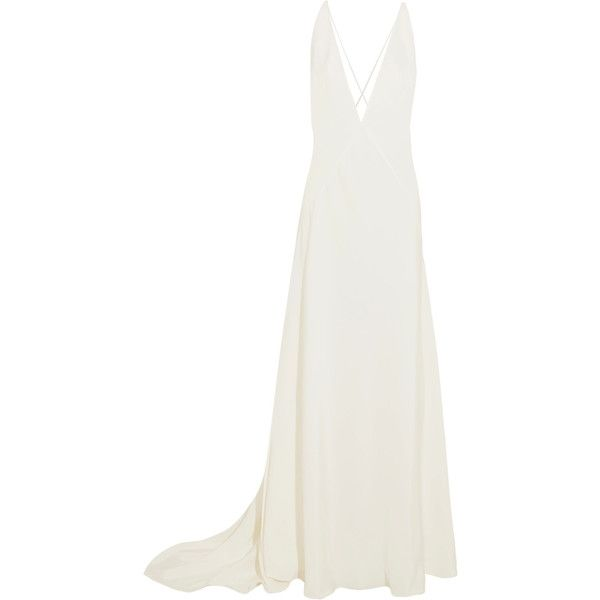 Michael Lo Sordo Alexandra silk crepe de chine gown (4.955 BRL) ❤ liked on Polyvore featuring dresses, gowns, white, long dresses, ivory, bridal gowns, beach dresses, white gown, white evening gowns and silk gown