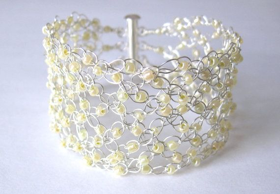 Plaited silver wire crochet beaded cuff bracelet by Uneeck on Etsy