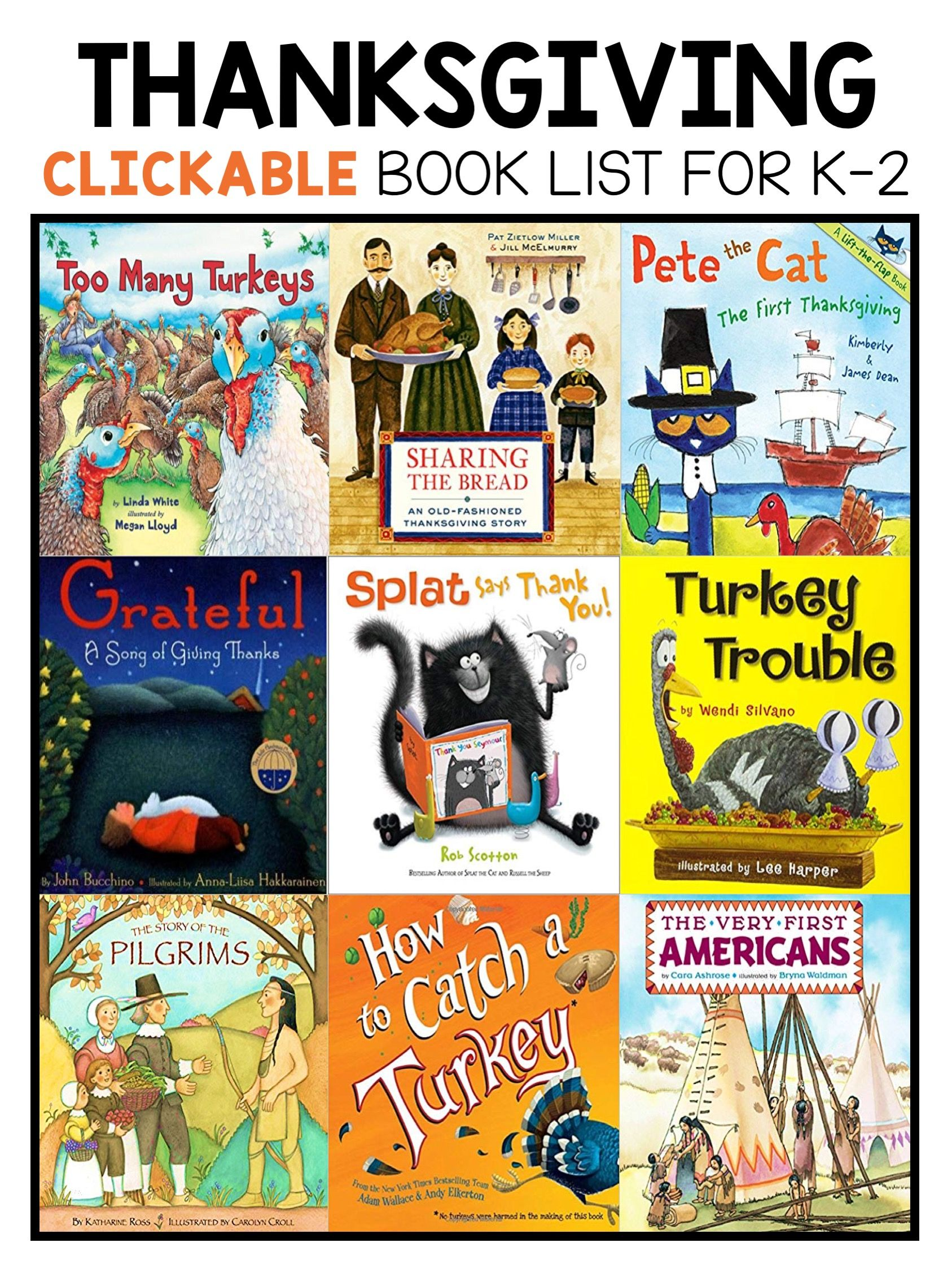 Best Thanksgiving Picture Books For Kindergarten First And Second