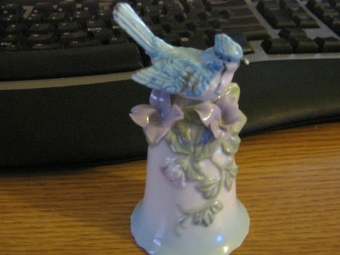 Blujay Blue Jay Bird Blue and White Porcelain Bell