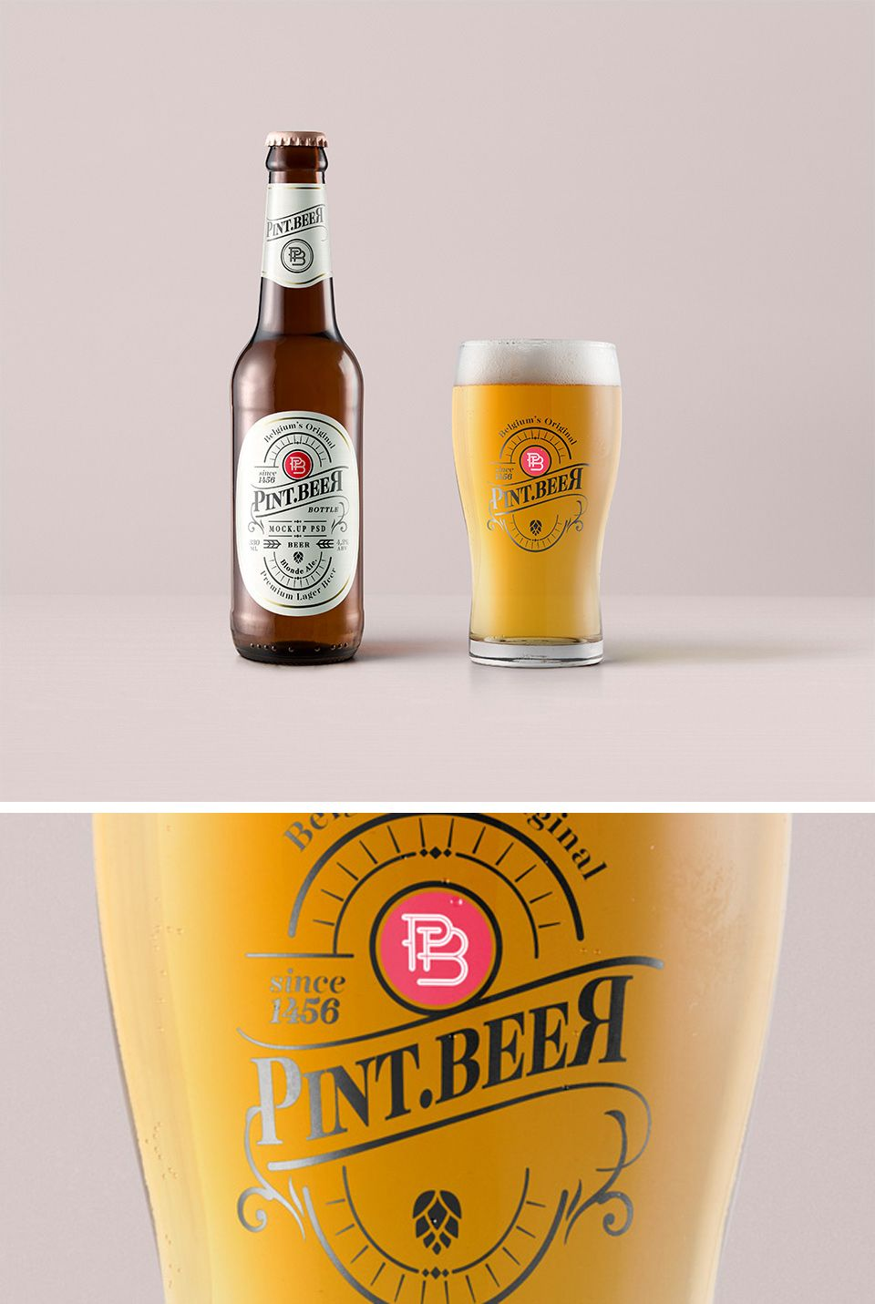 Free Amber Beer Bottle With Pint Glass Mockup Amber Beer Beer Bottle Bottle Mockup