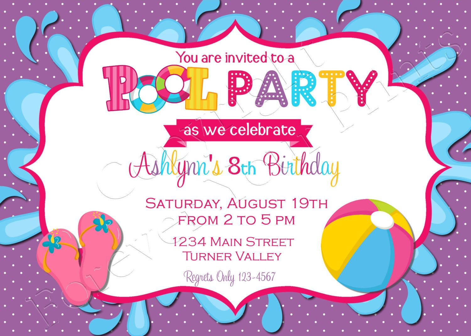 Pool Party Birthday Invitation - FREE Thank You Card included ...