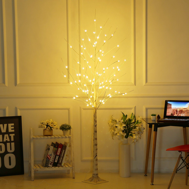 Led Christmas Decorations Indoor.Bolylight Led Birch Tree 6ft 96l Led Christmas Decorations