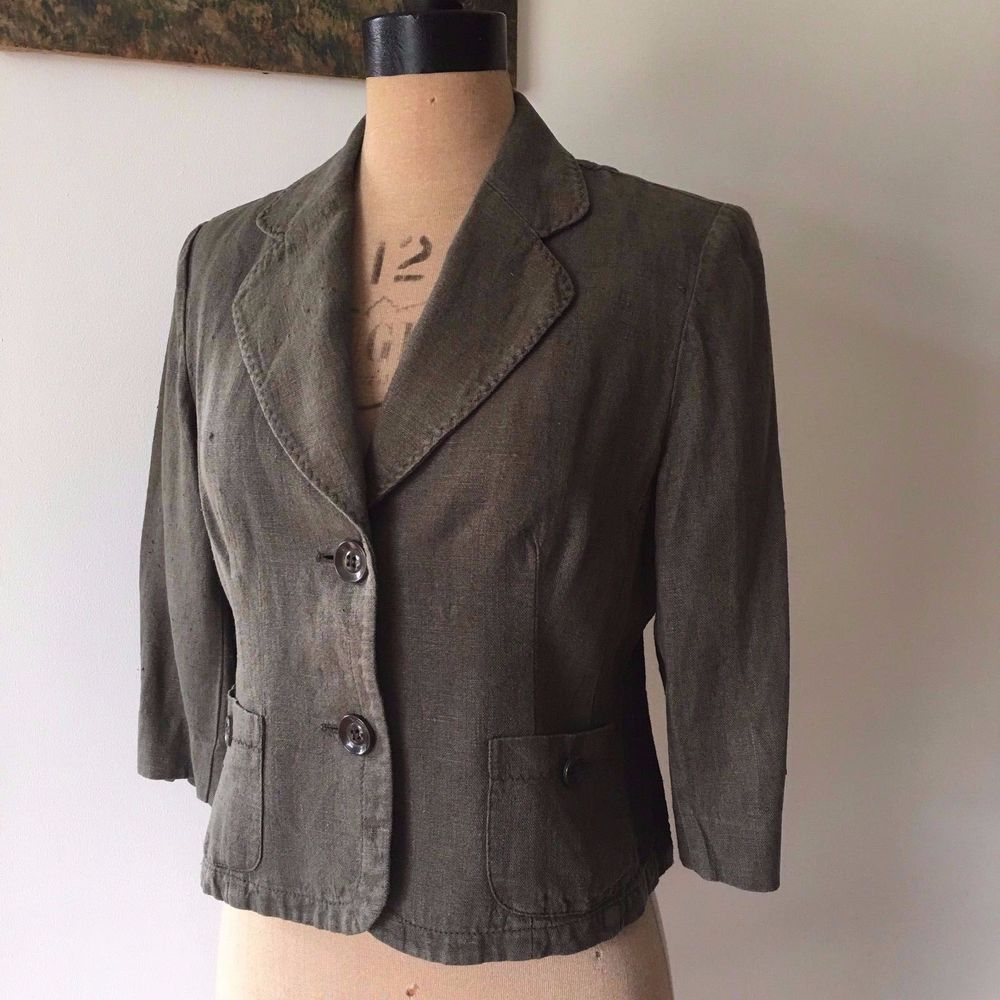 UK SIZE 12 CC PETITE GREEN LINEN CROPPED JACKET REVERE COLLAR #CCPetite #CroppedRevereCollarJacket