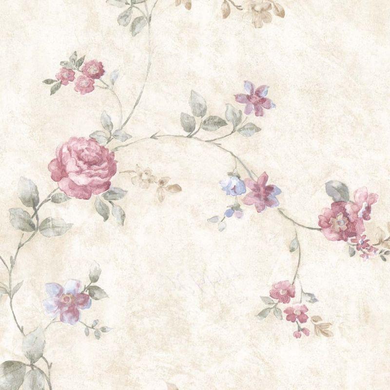 Vintage Rose Englische Landhaus Satintapeten Rankende Blumen Art