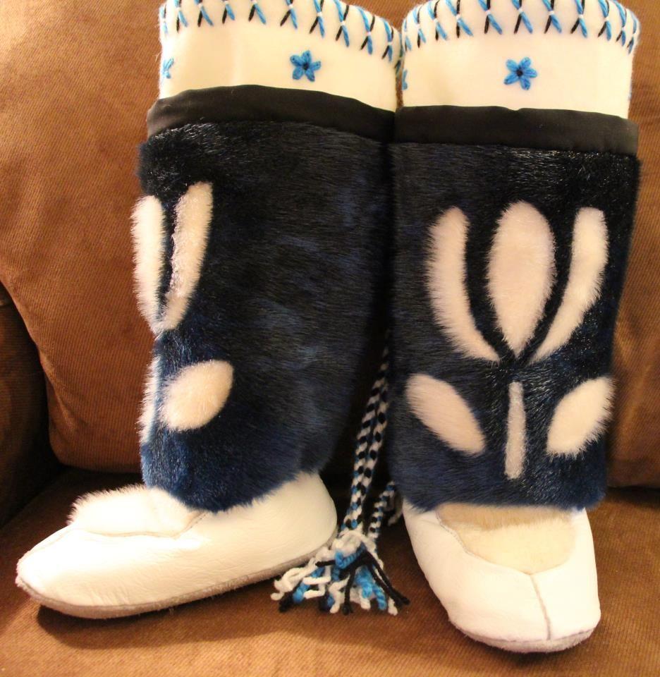 Inuit made children's sealskin kamiks by Qullik Sequaluk