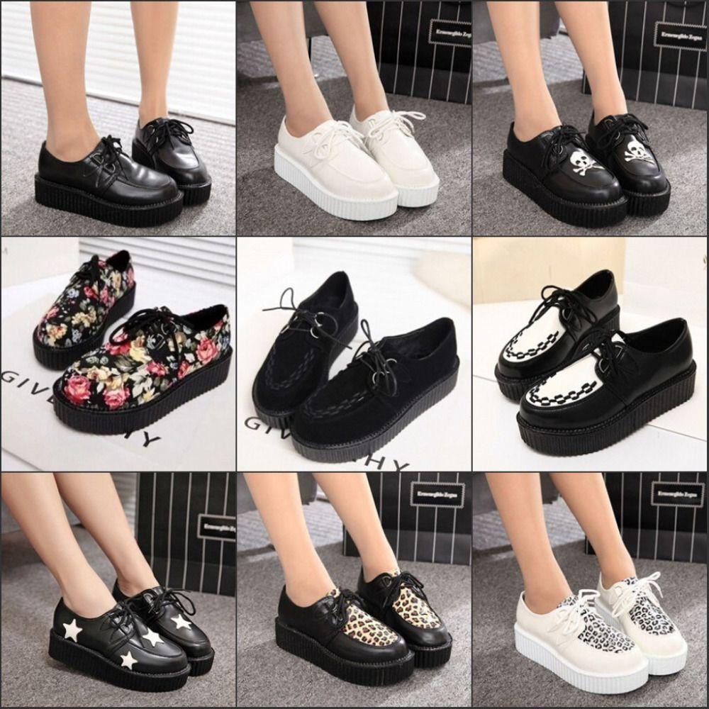 Encontrar Más Pisos de la Mujer Información acerca de 2015 los zapatos  Creepers mujeres ocasional gamuza negro enredaderas vendimia zapatos de  plataforma ...
