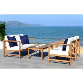 Safavieh Montez 4-Piece Eucalyptus Frame Patio ... on Safavieh Outdoor Living Montez 4 Piece Set id=51225