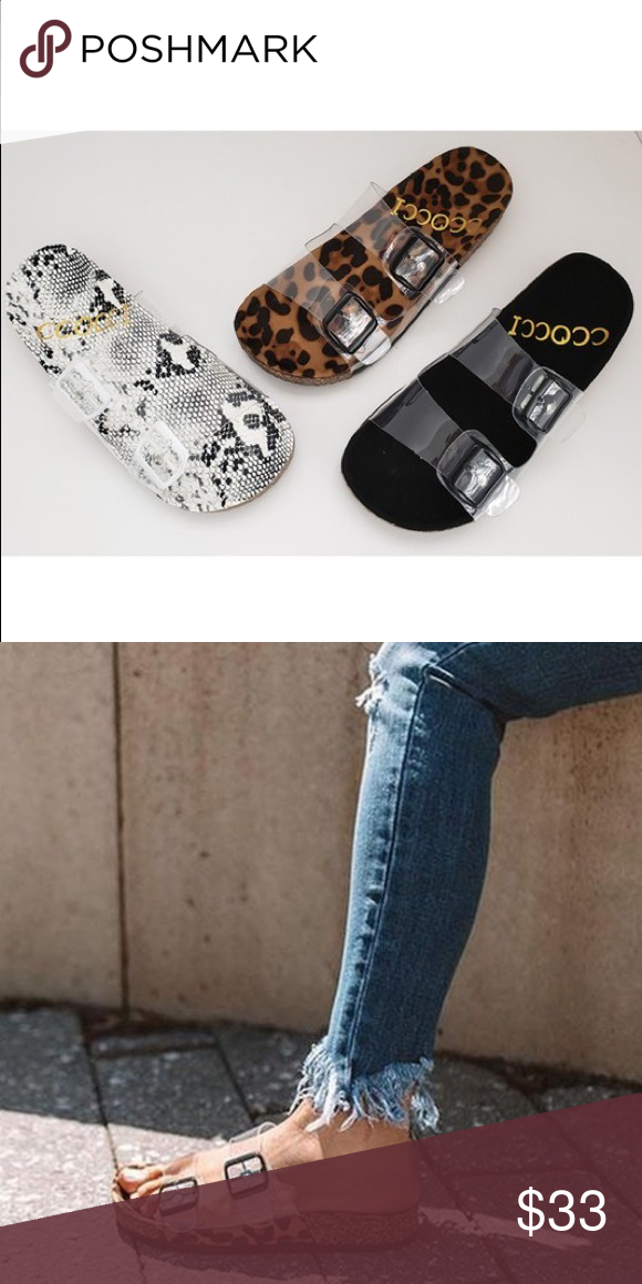 BLACK clear sandal slides | Clear
