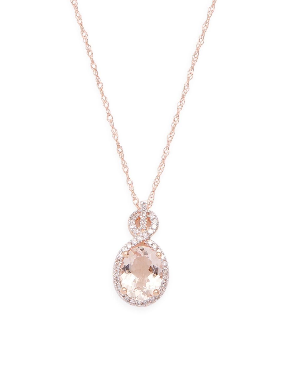 Rina Limor 10k Rose Gold Morganite Diamond Pendant Necklace Rinalimor Diamond Pendant Necklace Pendant Necklace Diamond