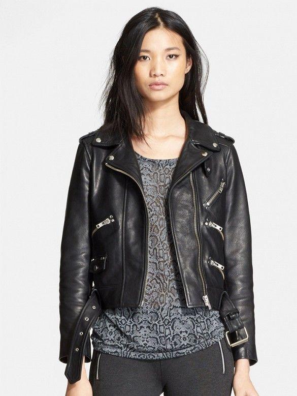 3df4db7ff5 Black leather biker jacket // Leather Moto Jacket by The Kooples #jackets  #shopping